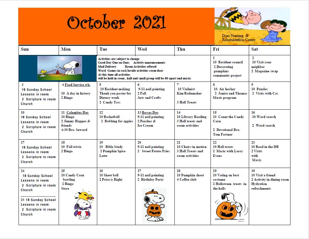 Dyer Nursing and Rehabilitation Center Calendar
