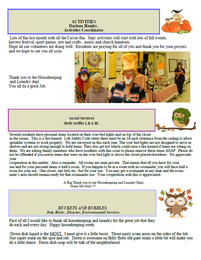Dyer Nursing and Rehabilitation Center Newsletter
