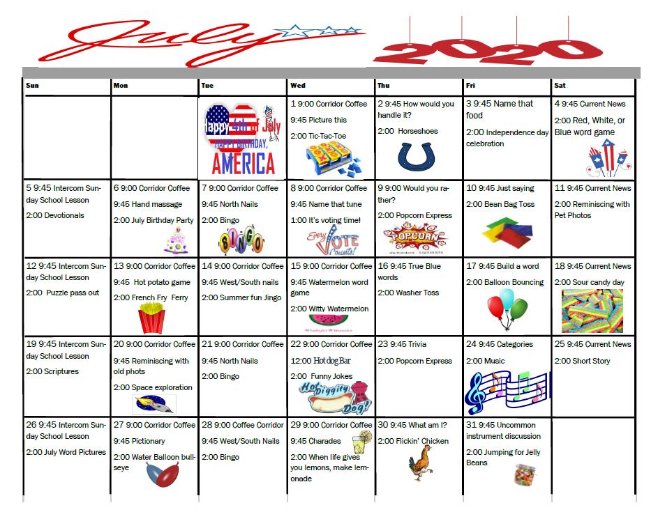 Alamo Nursing and Rehabilitation Center Calendar