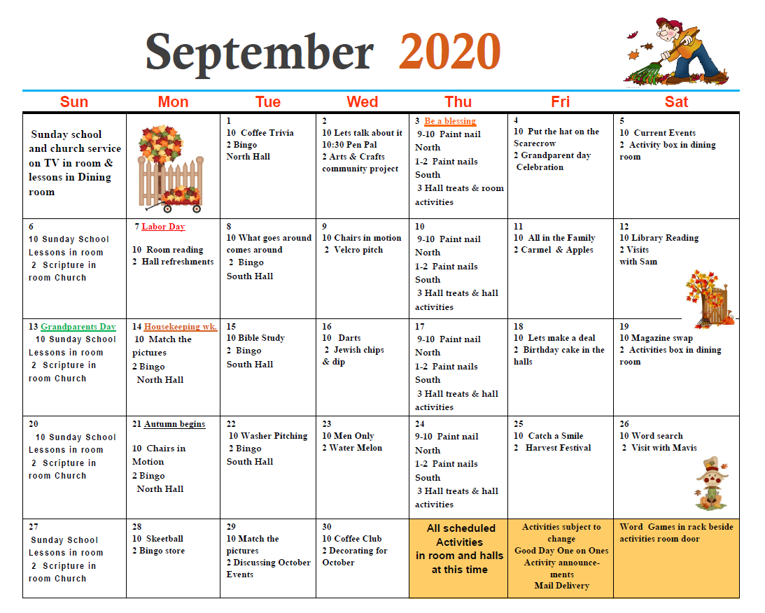 Dyer Nursing and Rehabilitation Center Calendar