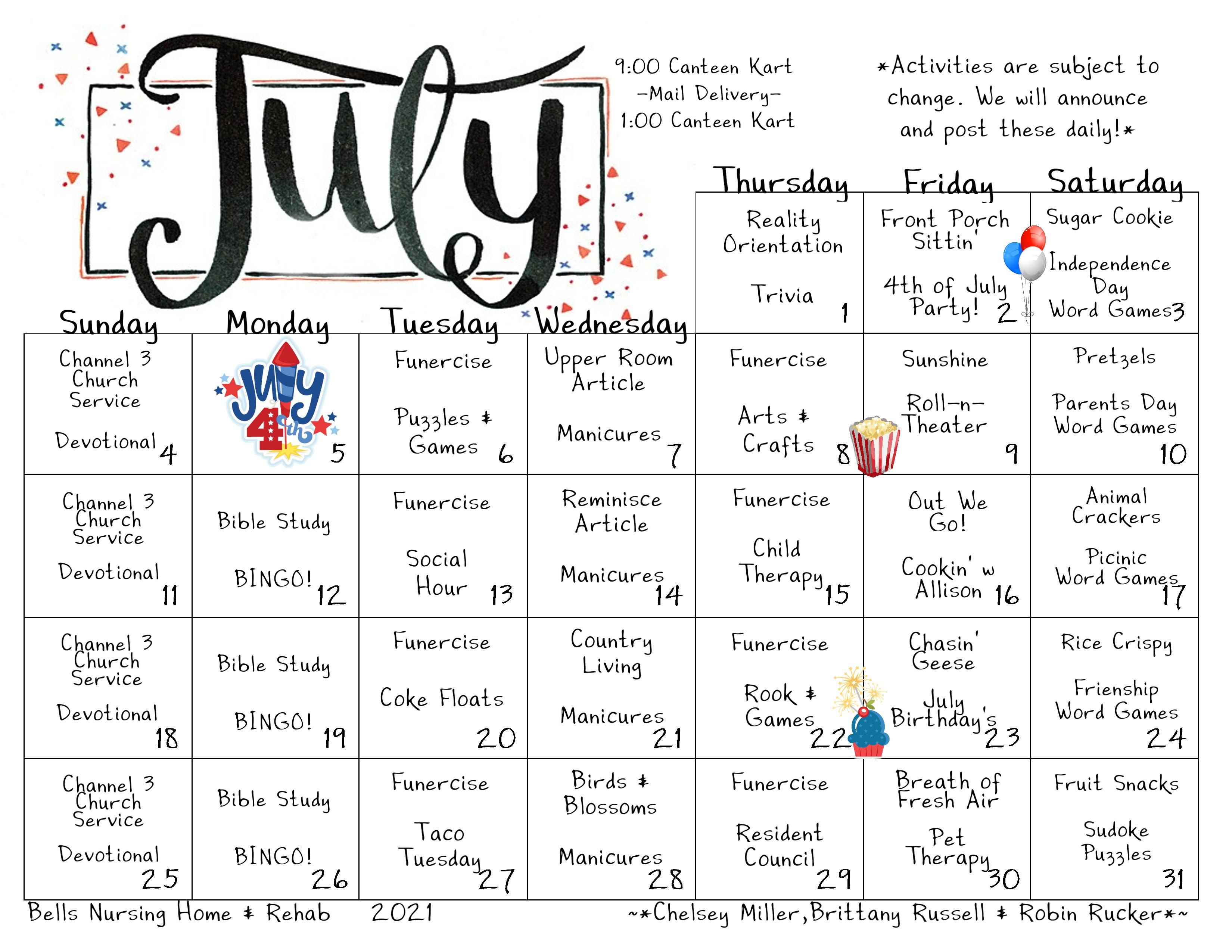 Bells Nursing and Rehabilitation Center Calendar