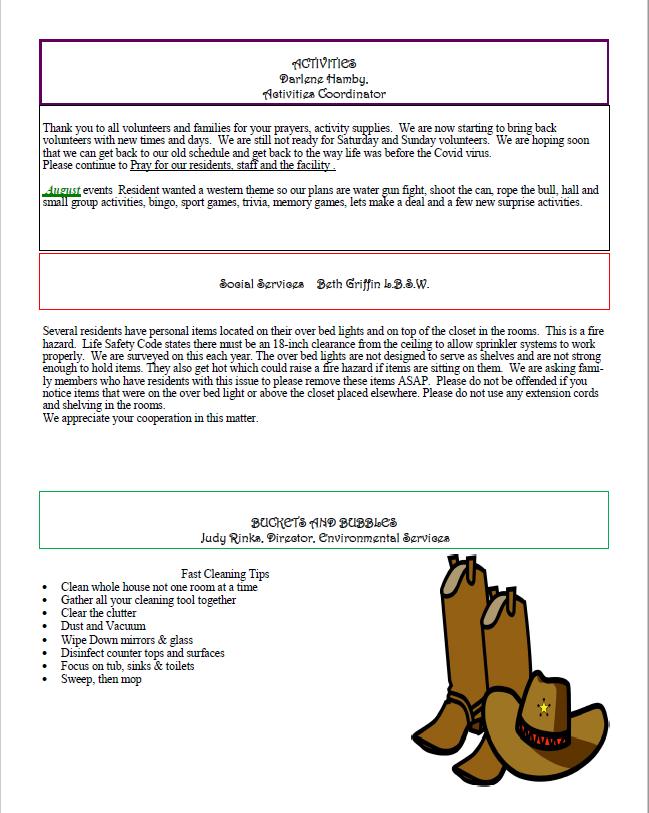 Dyer Nursing and Rehabilitation Center Newsletter